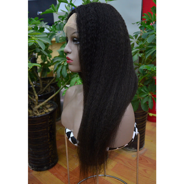 Brazilian Hair Black Yaki Long Hair Lace Front Wig