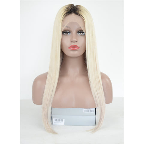 Peruvian Hair Light Blond With Black Root Fashion Straight Lace Front Wig