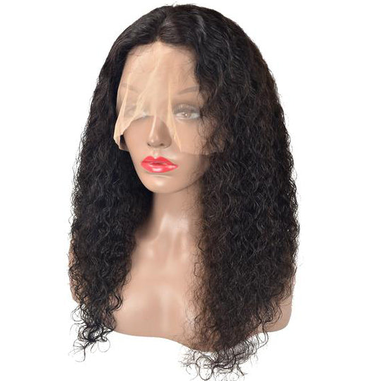 Peruvian Hair Black Color Lace Front Wig  Deep Wavy