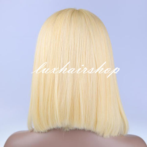 Itslademi Peruvian Hair Blond Color Straight Lace Front Bob Wig