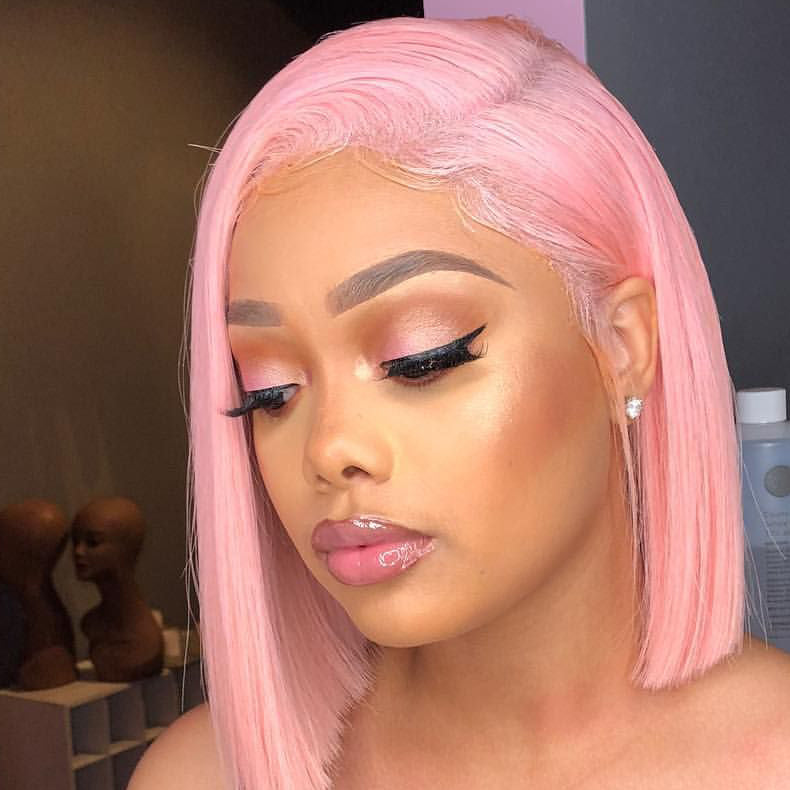 Peruvian Hair Pink Color Straight Lace Front Bob Wig