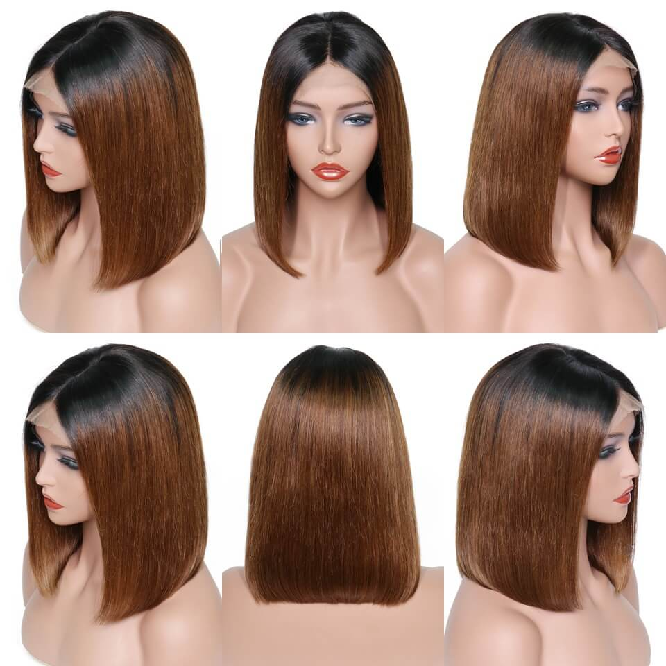 Peruvian Hair Brown With Black Root Color Straight Lace Front Bob Wig