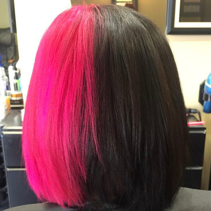Peruvian Hair Half Fuchsia And Half Black Color Straight Lace Front Bob Wig
