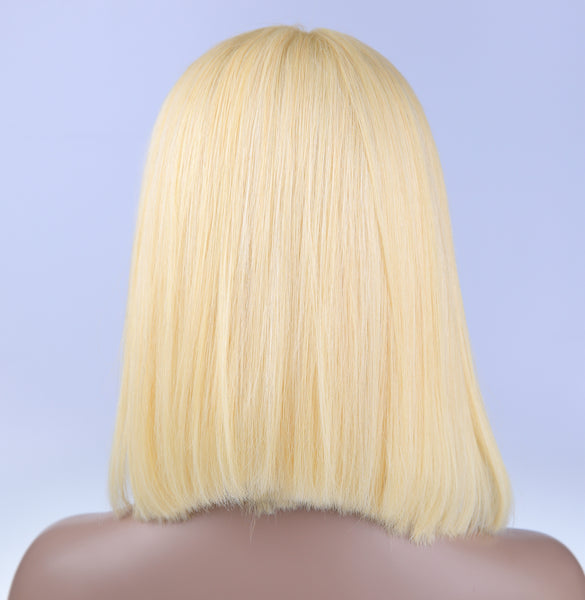 Peruvian Hair Blond Color Straight Lace Front Bob Wig