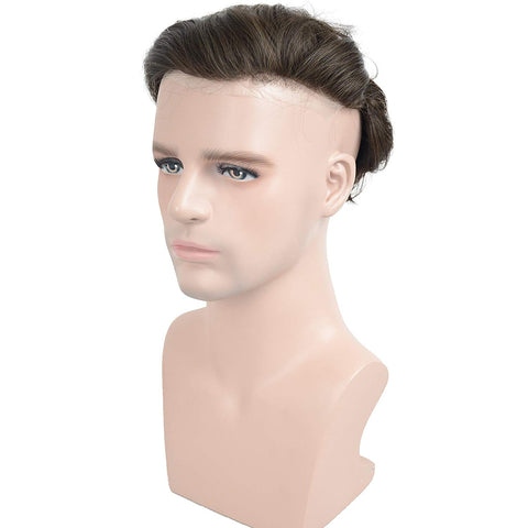 European Virgin Human Hair Brown Thin Skin Base Man Toupee Single Knot