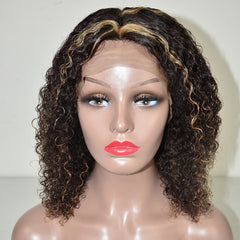Brazilian Hair Natural Color Mix Blond Curly Lace Front Wig
