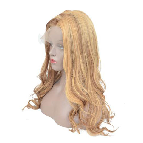 Peruvian Hair Blond Mix Brown Color Body Wavy Lace Front Wig