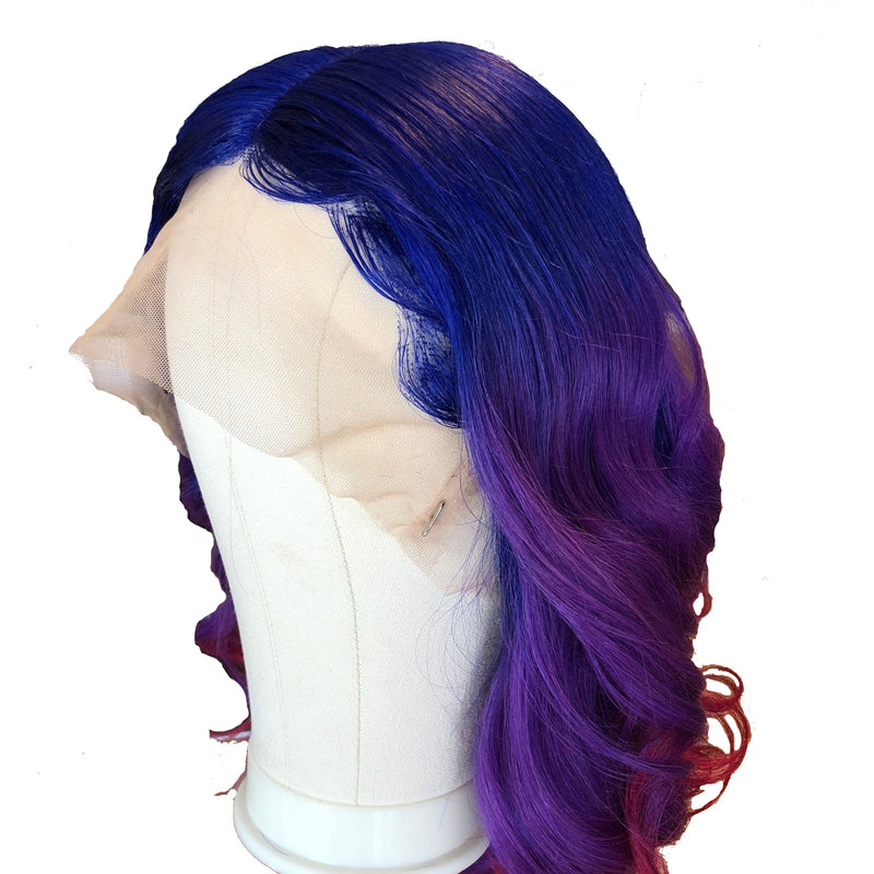 Peruvian Hair Blue And Purple And Red Ombre Color Fashion Body Wavy Full Lace Wig
