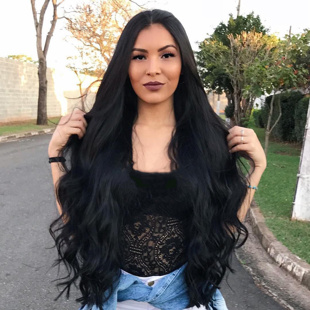Brazilian Hair Natural Wavy Long Hair Lace Front Wig Black Color