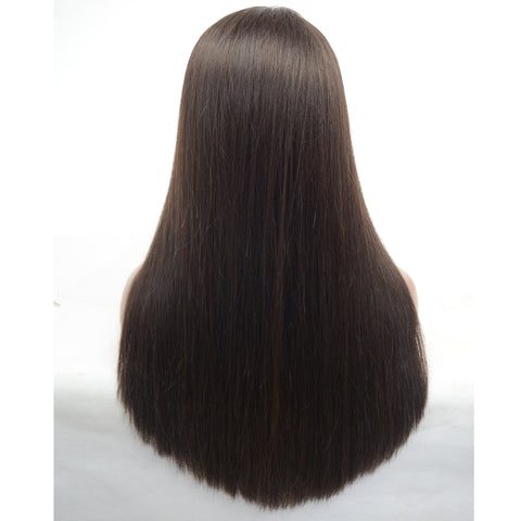 Brazilian Hair Dark Brown Color Fashion Straight Long Hair Lace Front Wig