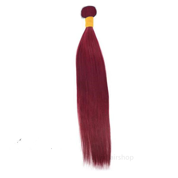 Peruvian Human Hair Weft Red Color Straight Bundles