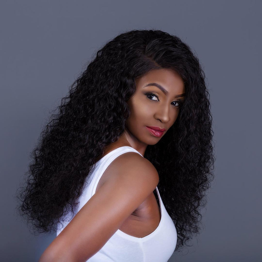 Brazilian Human Hair Black Color Curly Lace Front Wig