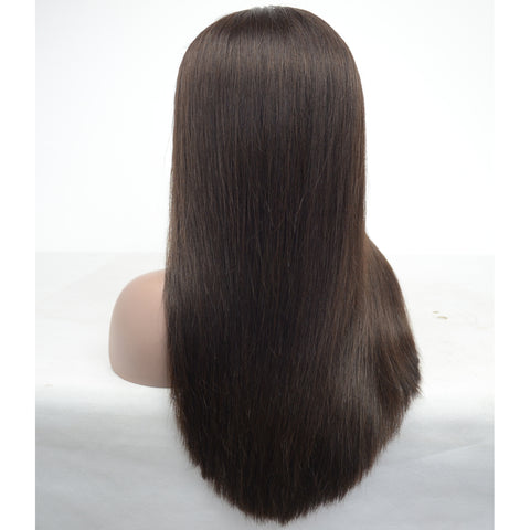 Brazilian Hair Fashion Straight Long Hair Lace Front Wig Black Color