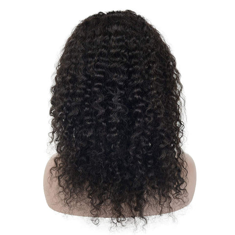 Brazilian Hair Black Color Curly 14 Inch Fashion 360 Lace Frontal Wigs