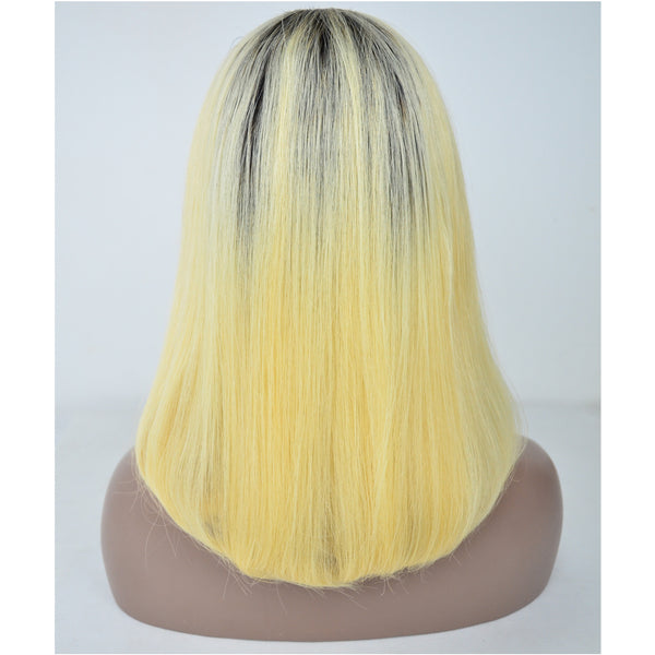 Peruvian Hair Blond With Black Root Color Straight Lace Front Bob Wig