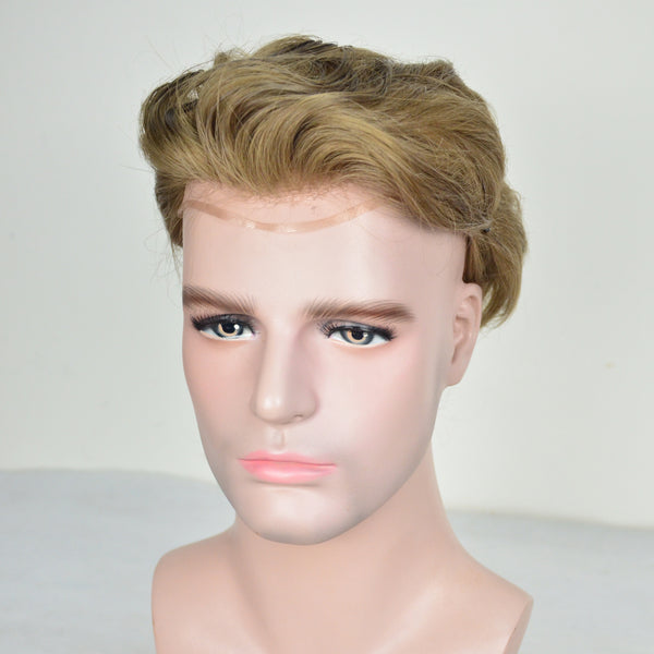 European Virgin Human Hair Light Blond Lace Front With PU Back Man Toupee