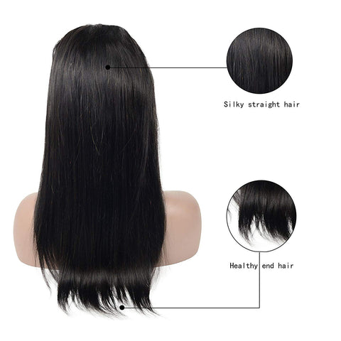 Brazilian Hair Black Color Straight 18 Inch Fashion 360 Lace Frontal Wigs