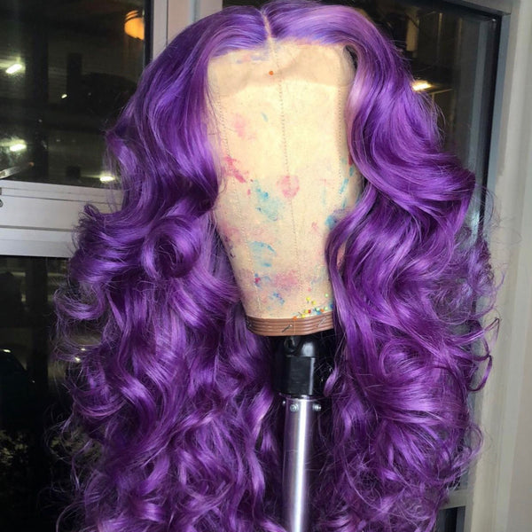 Peruvian Hair Lace Front Wig Purple Color Body Wavy