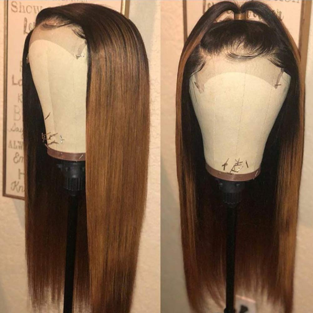 "Brazilian Hair Brown With Black Root Color Straight 4*4"" Closure Wig"