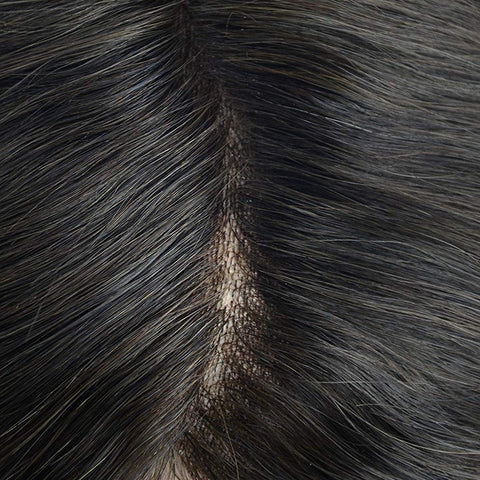 European Virgin Human Hair Black Thin Skin Base Man Toupee Single Knot