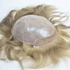 Image of European Virgin Human Hair Light Blond Lace Front With PU Back Man Toupee