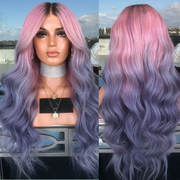 Peruvian Hair Ombre Pink Purple with Black Root Body Wavy Lace Front Wig