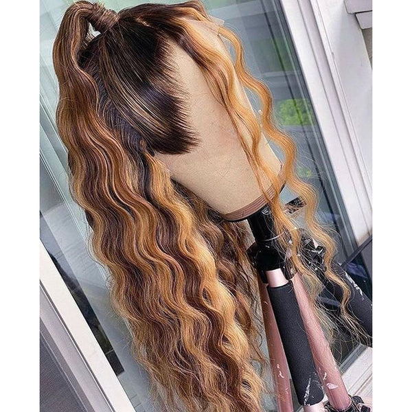 Peruvian Hair Ombre Color Loose Wave Pre-Styled Lace Front Wig