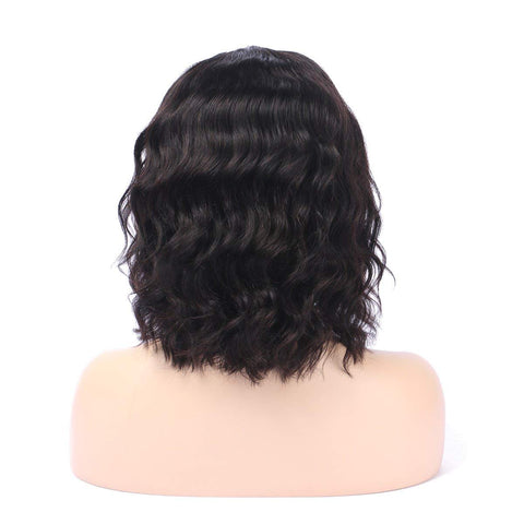 Brazilian Human Hair Black Color Slight Wave Lace Front Wig