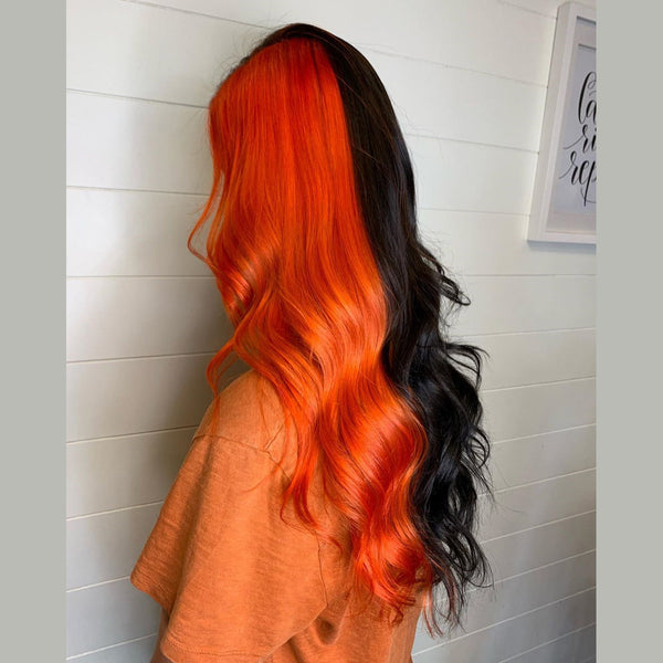 Half Black With Half Orange Color  WIG