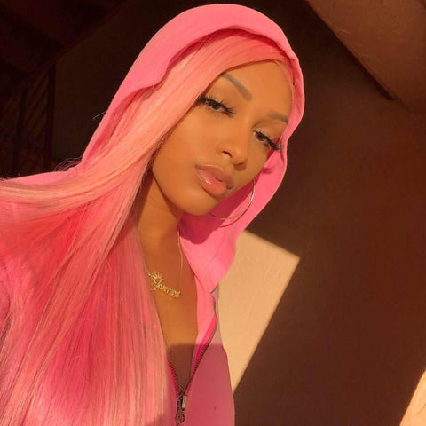 Peruvian Hair Pink Color Straight Lace Front wig