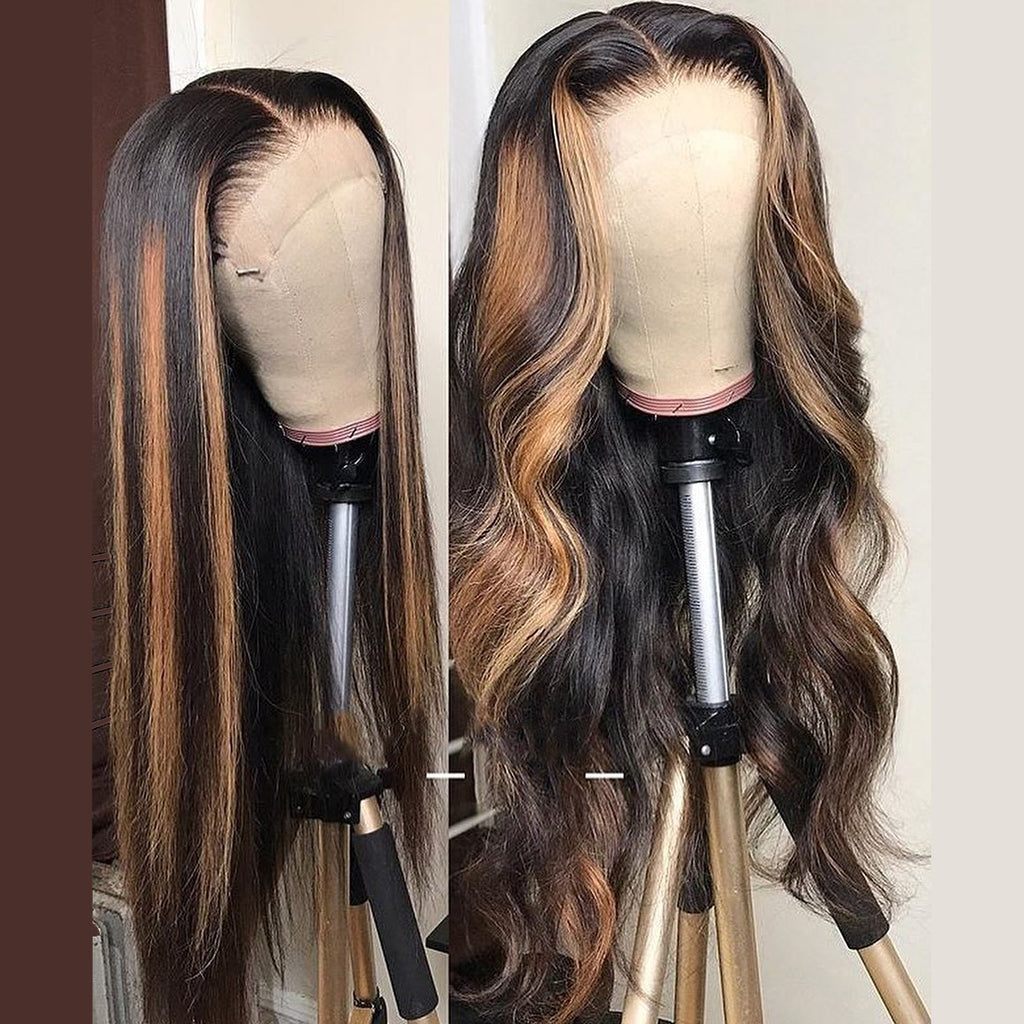 Straight and Body Wavy Ombre Color Wig