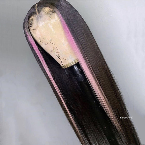 Peruvian Hair Black with Pink Color Highlights Straight HD Transparent Lace Closure Wig
