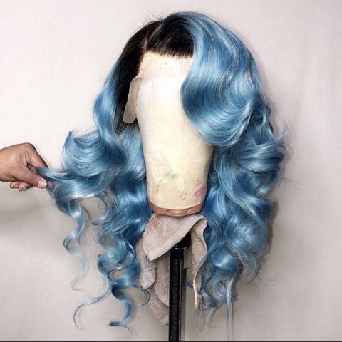 Peruvian Hair Blue with Black Root Color Body Wavy Lace Front Wig