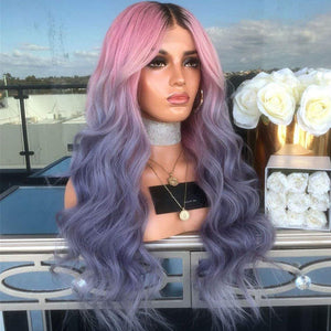 Ombre Pink Purple with Black Root wig