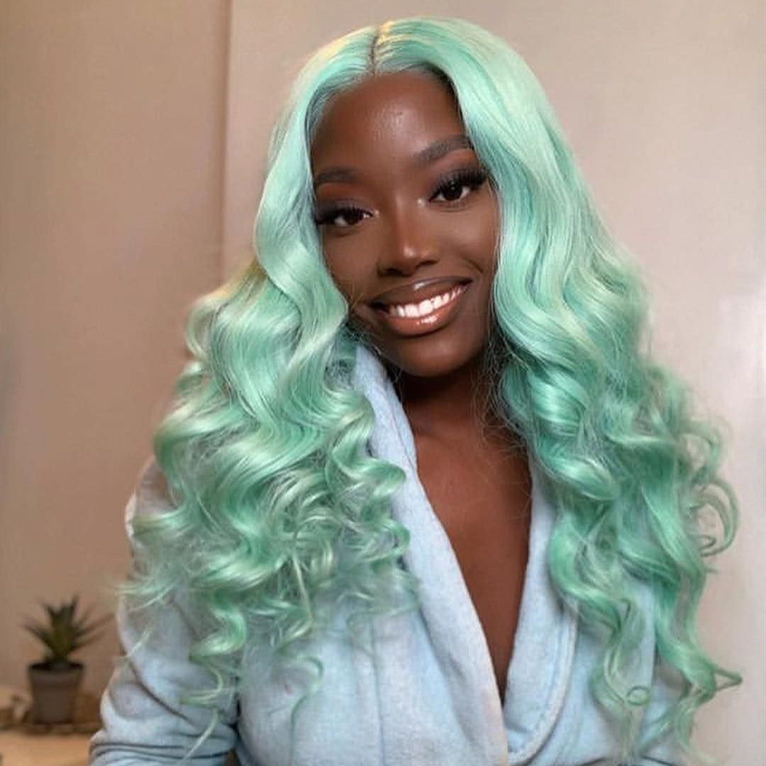Peruvian Hair Light Green Color Fashion Lace Front wig