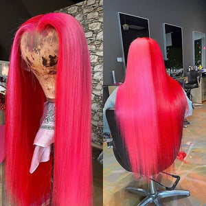 Half Pink And Half Fuchsia Color wig
