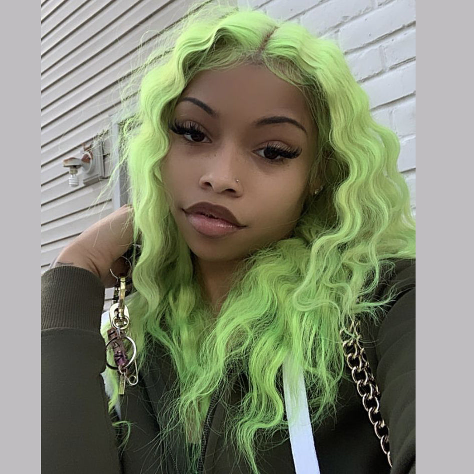 Peruvian Hair Light Green Color Deep Wavy Lace Front Wig
