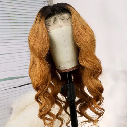 Light Brown With Black Root Body Wavy Lace Front Wig
