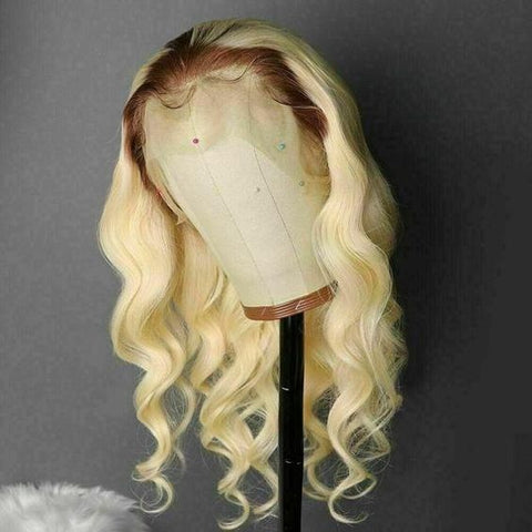 Peruvian Hair Body Wavy Blond with Brown Root Color Full Lace Wig
