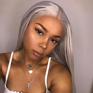 Peruvian Hair Silver Color Straight Long Lace Front Wig