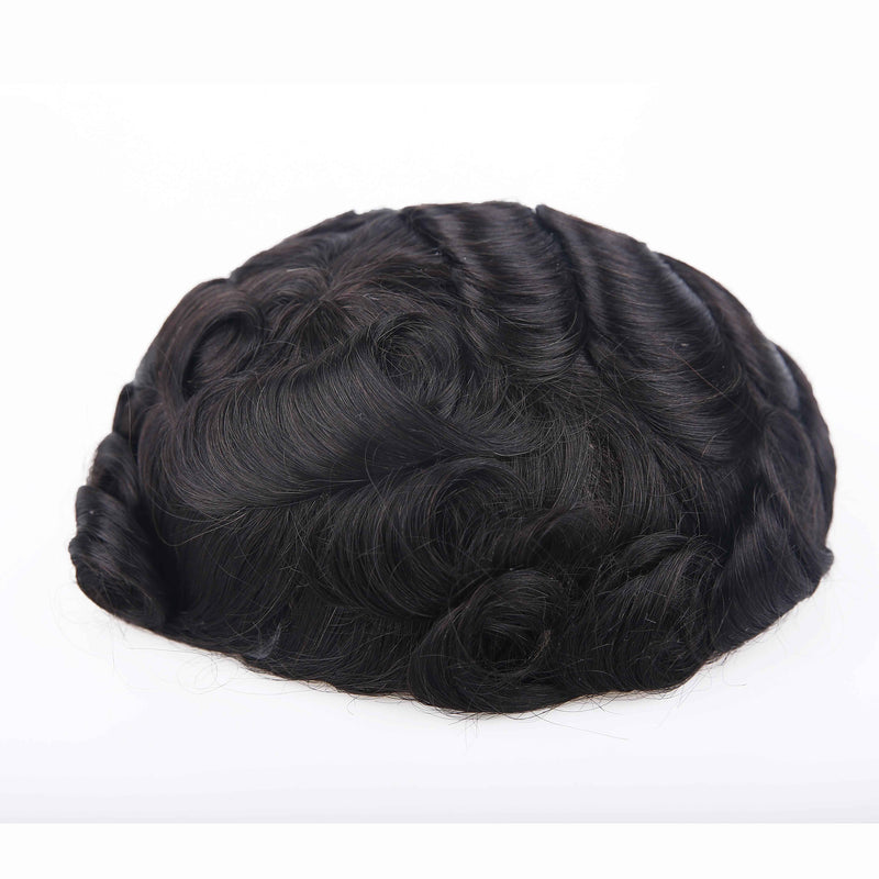 European Virgin Human Hair Thin Skin Base Man Toupee Injection Black