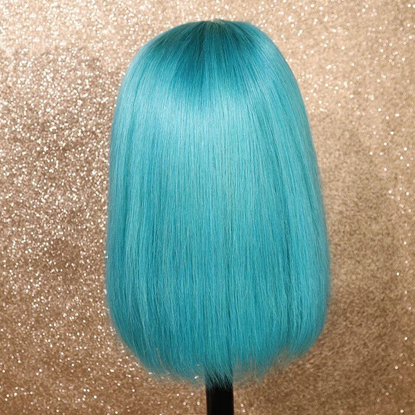 Peruvian Hair Azure Blue Color Straight Lace Front Bob Wig