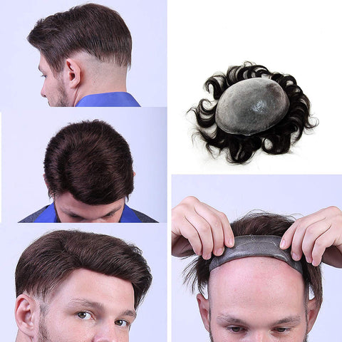European Virgin Human Hair Black Thin Skin Base Man Toupee V-LOOP