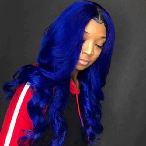 Peruvian Hair Blue Color with Black Root Body Wavy Lace Front Wig