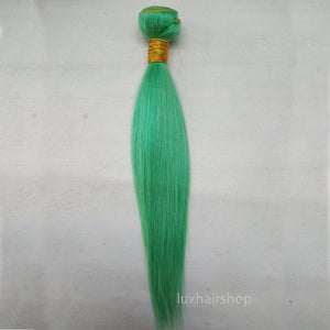 Peruvian Human Hair Weft Green Color Straight Bundles