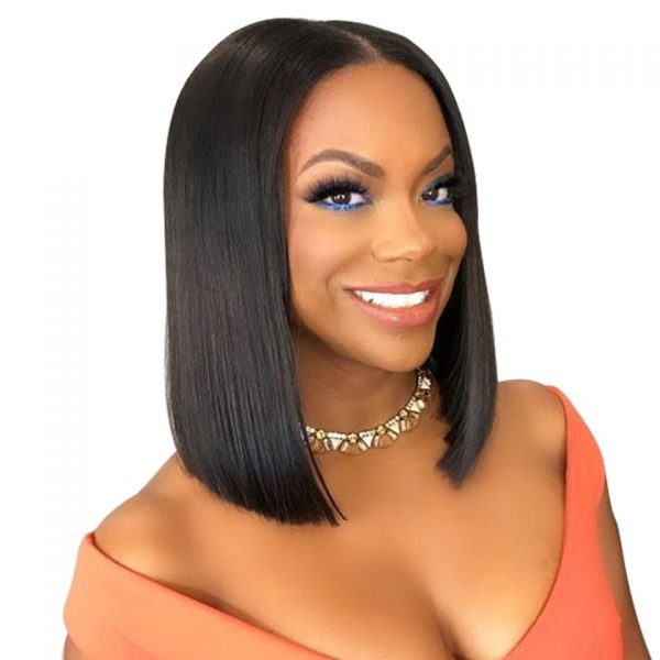 Peruvian Hair Teal Ombre With Black Root Lace Front Bob Wig Straight