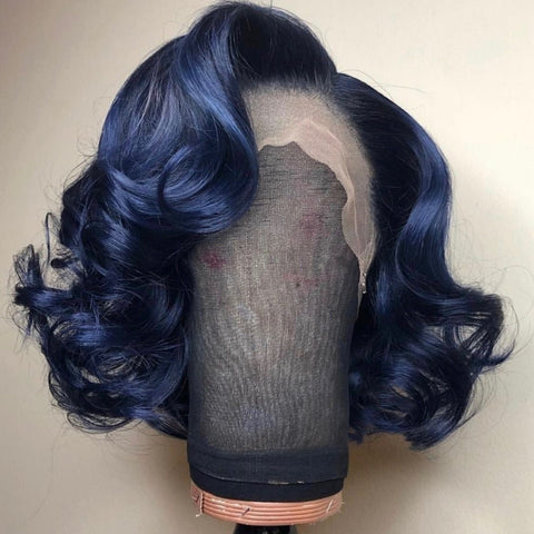 Peruvian Hair Indigo Blue Color with Black Root Body Wavy Lace Front Wig