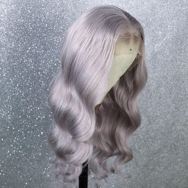 body wave silver color wig
