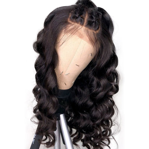 Peruvian Hair Long Loose Wavy Long Hair Lace Front Wig Black Color