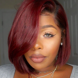 Burgundy Mix Black Color wig